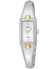 Seiko Women's Solar Two-Tone Stainless Steel Bangle Bracelet Watch 16mm SUP218 - Watch Brands - Jewelry & Watches - Macy's