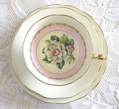 Vintage Tea Trio Pink and White Rose Royal by TheWhistlingMan, £18.00