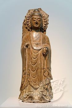 Buddha: Fragment from a Larger Stele, mid- 6th century, Eastern Wei dynasty, 535–50, Limestone H 31 1/2 in 80 cm, W 10 1/2 in 26 7 cm, D 7 3/4 in 19 7 cm, Diam base: 11 1/2 in 29 2 cm, Metropolitan Museum of Art, New York City