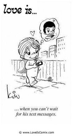 Quando você não pode esperar pelas mensagens dele. Amo ver suas mensagens. Nara Azevedo. Love Is Comic, Love Is Cartoon, What Is Love, Love You, Amai, Love My Husband, Best Love Quotes, Sweet Quotes, Love Notes