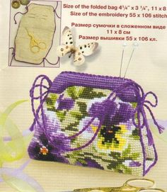 Small Sewing Bag • There are about 12 designs in which you can stitch this bag, ie cherries, roses, daffodils, hearts and even one suitable for a child. Each design has a full chart and the suggested floss colours. Some of the pictures provide suggested ways to finish the bag including adding handles