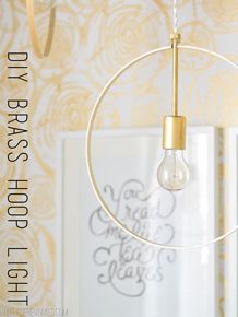 Lovely way to brighten up your home! #DIY Wood and Brass Hanging Hoop Pendant Lights