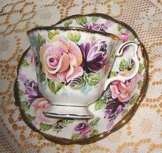 TEACUPS: Royal Albert pink roses and purple flowers Vintage Cups, Vintage Tea, Vintage China, Tea Cup Saucer, Tea Cups, Royal Albert, China Tea Sets, Teapots And Cups, My Cup Of Tea