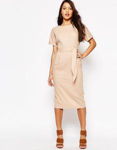 ASOS Belted Wiggle Dress In Linen 56% Linen, 44% Viscose