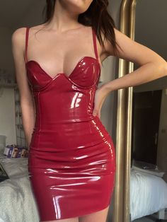 Stage Outfits, Edgy Outfits, Cool Outfits, Cute Dresses, Beautiful Dresses, Mode Latex, Vinyl Dress, Latex Dress, Looks Chic