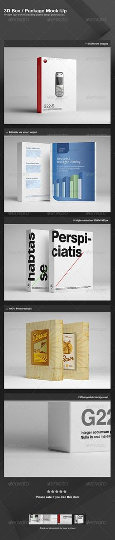 3D Box / Package Mock-Up  -  PSD Template • Download ➝ https://graphicriver.net/item/3d-box-package-mockup/2262667?ref=pxcr