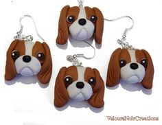 Cavalier king charles spaniel dog earrings polymer by velvetdressx