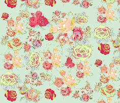Vintage Inspired Floral in Peach, Mint, and Spring Green fabric by theartwerks on Spoonflower - custom fabric