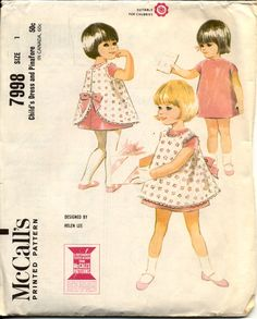 McCalls 7998 Toddlers 1960s Dress and Pinafore Pattern Scalloped Edging Back Bow by Helen Lee Childrens Vintage Sewing Pattern Breast 20. $10.00, via Etsy.