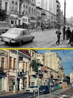 "Calea Griviței între Buzești și hotel Nord 1985 vs 2018. Îmi place numele magazinului ""Jurubița"" #bucurestiulmeudrag Bucharest Romania, Old City, Old Photos, Times Square, Nostalgia, Anna, Street View, Memories, Wallpaper"
