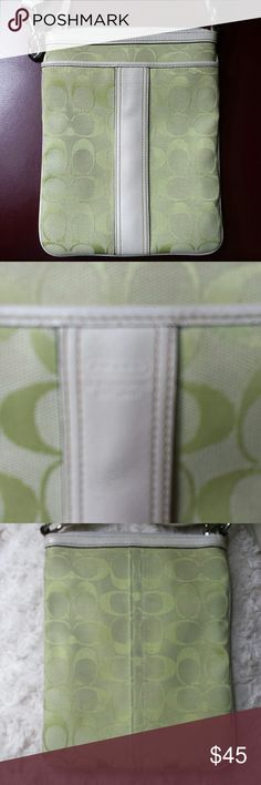 Coach Lime Signature Crossbody Bag Coach Signature lime Crossbody Bag, Creed 6016, Zippered Closure, Zippered pocket inside, areas of  darkened marks on strap edges see pic, some marks on lining see pic otherwise good condition, H8 x W6 Coach Bags Crossbody Bags