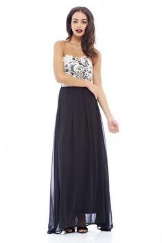 AX Paris Womens Black Crochet Boobtube Maxi Dress Glamorous Stylish Fashion