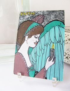 1910s Faith Angel ACEO Original Holiday Artwork by silentmagician, $20.00