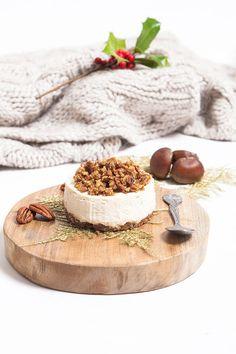 mascarpone & whipped cream cheesecake with chestnut cream & caramelized maple syrup pecans//