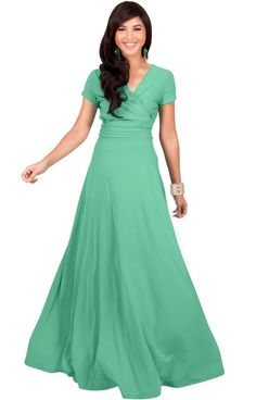 149ccdbfaee8 Womens Long Sexy Cap Short Sleeve V-neck Flowy Evening Bridesmaid Maxi Dress #Cap