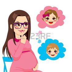 Hermosa mujer morena embarazada se pregunta sobre el sexo de su futuro beb� photo
