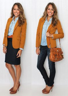 Great color combination.  Perfect for fall and a quick transition from class to an evening with friends.