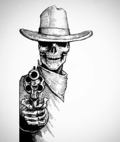 "deadwestart: ""Badass ink of a skeleton gunslinger "" Indian Skull Tattoos, Skeleton Tattoos, Skeleton Art, Mexican Skeleton, Skull Tattoo Design, Tattoo Sleeve Designs, Sleeve Tattoos, Cowboy Tattoos, Western Tattoos"