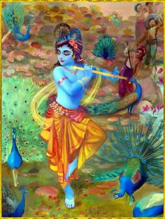 Krishna, the Supreme Dancer Haribol! Radha Krishna Art, Hindu Art, Indian Art, Art, Krishna Janmashtami