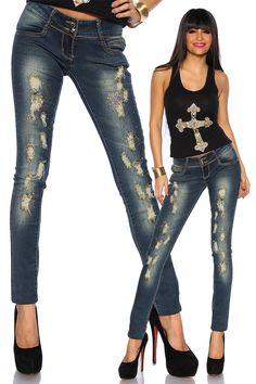 Jeanshose mit Nieten | Jeans | Hosen & Pants & Leggings | BEKLEIDUNG | FRAUEN | 701 FASHION