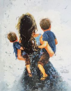 Mother And Son Discover Mother Two Sons Art Print two boys two brothers mother carrying two sons blue boys room wall art brunette mom and sons Vickie Wade Art Mother Art, Mother And Child, Boy Tattoos, Boy Art, Tattoo For Son, Sons, Fine Art Prints, Sketches, Wall Art