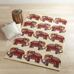 Elephant Parade 8x10 Rug Red