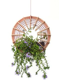 Jardim suspenso Assanga, de laminado de bambu, elástico e manta de PVC flexivel, da  Mameluca Design, na Paralela Gift