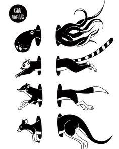 #animals #design #tattoo #octopus #fox #kangaroo #lemur