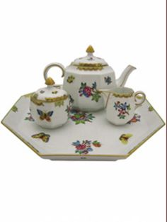 This is a special import! We will not be able to get this piece again!Make Mothers Day special!Creamer approximately 3 HeightSugar approximately 4 Height Mothers Day Special, Cream And Sugar, Tea Sets, Porcelain Tile, Hungary, Tea Time, Tea Party, Pots, Whimsical