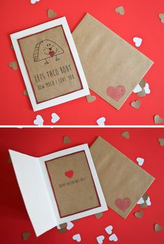 Let's taco bout how much I love you! This Valentine's Day, delight your love with a cute handmade Mexican food greeting card. For anyone in your life who loves burritos, salsa, margaritas, and love. By DaydreamHunter on Etsy.