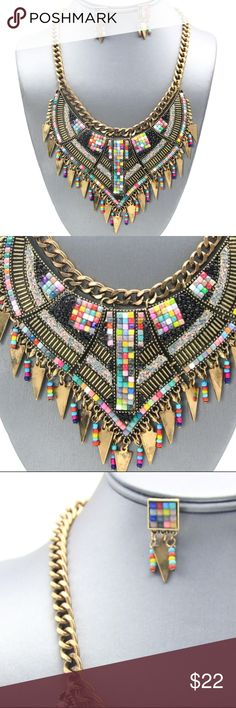 "Multi-Color Tribal Fringe Necklace Set Brand new gold plated multi-color tribal fringe necklace. Necklace measures 17"" long, 3"" drop down front with a 3"" extender. #U1SINE1646MLTG Jewelry Necklaces"