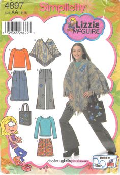 Second Silver - Sewing Pattern Lizzie McGuire pants tops purse skirt pajamas slippers bag mini dress capri Julie Johnson, Lizzie Mcguire, Simplicity Sewing Patterns, Tween, Girl Outfits, Cover Up, Pajamas, Dress Sewing, Purses