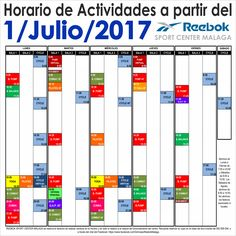 Horario de actividades a partir del 1/Julio/2017. Más información en http://reebokmalaga.com/