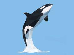 Low poly killer whale illustration in Polygonal art Orca Art, Shark Art, Orca Kunst, Whale Illustration, Social Media Art, Polygon Art, Affinity Designer, Wale, Origami