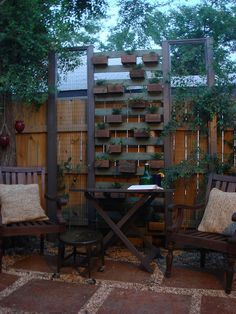 Wood and metal lathe trellis panels! Just stain the 2x4 wood frame and staple chicken wire..I prefer square lathe design which comes in roll they sell for concrete and tile wall prep.. great neighbor privacy wall panel or great over a dull wall.