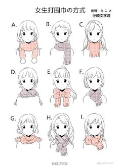 manga style scarves and hairstyles