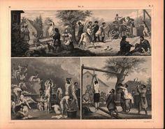 Russian Rural Games Public Bath Antique Print 1857