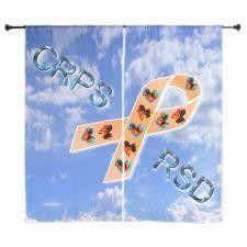CRPS RSD Fire & Ice Hearts Ribbon blue sk Curtains