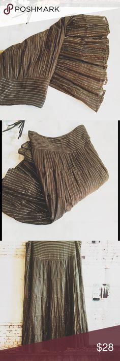 """MAGAZINE BROWN MIDI SKIRT, SIZE LARGE A brown with silver threads/lines midi skirt.  Fully lined in a dark brown color.  Side zipper and hook and eye.  This could fit a medium if worn lower on the waist.  Waist is 16"""" and length is 27"""".  Fabric is 100% cotton. magazine Skirts Midi"""