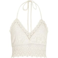 River Island White Pacha crochet halter neck top (170 DKK) ❤ liked on Polyvore featuring tops, crop top, shirts, tank tops, crochet halter top, tall shirts, crop shirt, cropped tops and white crop shirt