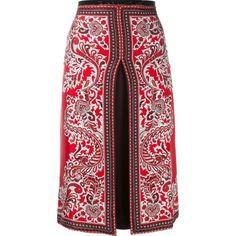 Alexander McQueen Damen slit paisley skirt - reduziert (18,540 MXN) ❤ liked on Polyvore featuring skirts, alexander mcqueen, slit skirt, paisley skirt, paisley print skirt and red skirt