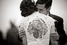 An idea of what a back tattoo may look like on your wedding day...