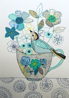 lovely mixed media textile piece featuring a bird perched on a teacup by AmandaWoodDesigns @ Etsy Freehand Machine Embroidery, Free Motion Embroidery, Free Machine Embroidery, Embroidery Applique, Thread Art, Thread Painting, Silk Painting, Diy Quilt, Quilts