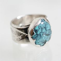 nevada turquoise ring, hand forged sterling silver ring, december birthstone, turquoise southwestern jewelry, hammered metalwork mens ring on Etsy, $175.00