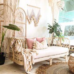 Last one! FIJI Rattan Sofa W/ Cushion - mi nuevo hogar - Design Rattan Furniture Rattan Daybed, Daybed Room, Rattan Furniture, Small Bedroom Couch, Daybeds, Handmade Furniture, Sofa Couch, Cushions On Sofa, Throw On Sofa