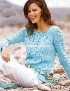 Меланжевый пуловер с ажурными полосами