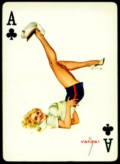 Alberto Vargas - Pin-up Playing Cards (1950) - Ace of Clubs [Never thought about putting the Pin-Up on the ace... Something to think about.]