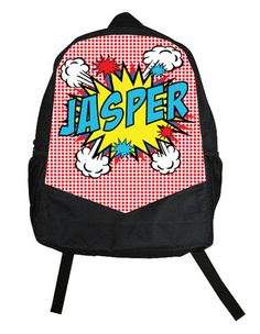 Awesome custom backpacks for kids like this comic book bag at Psychobaby