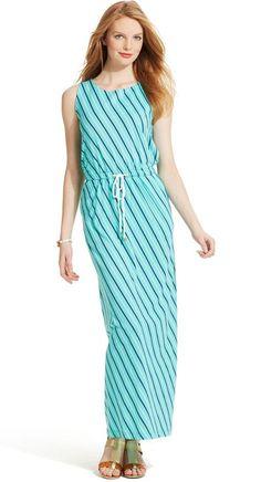 Tommy Hilfiger Striped Drawstring Maxi Dress