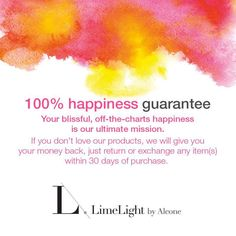 We want you to love your purchase! 30 day guarantee :-)  Independent Beauty Guide LimeLight by Alcone AllINeedIsMakeup.com